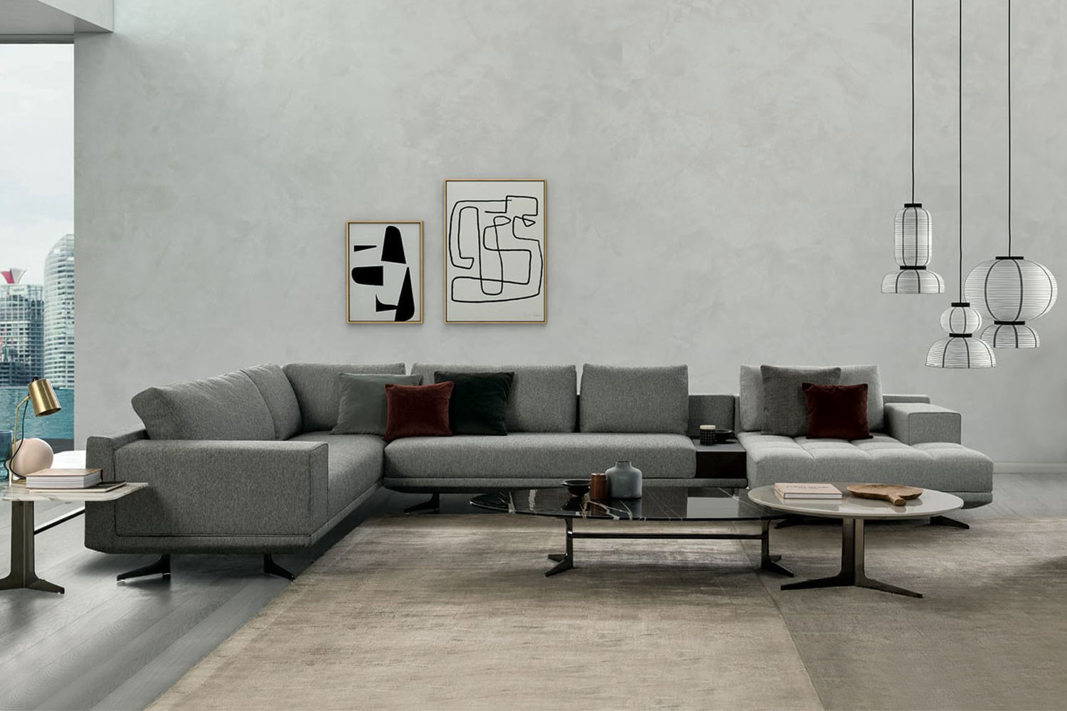Contemporary sectional sofa with sled metal legs and low loose back, panoramic corner version