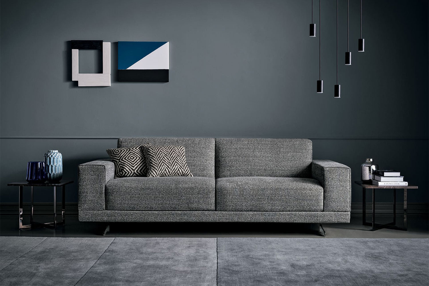 Sectional sofa bed with chrome sled legs