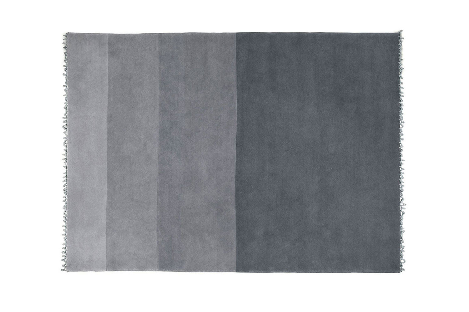 Contemporary hand-knotted grey short pile wool rug with a large stripe pattern