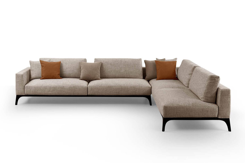 Modern wooden base designer modular sofa available in fabric, velvet and leather
