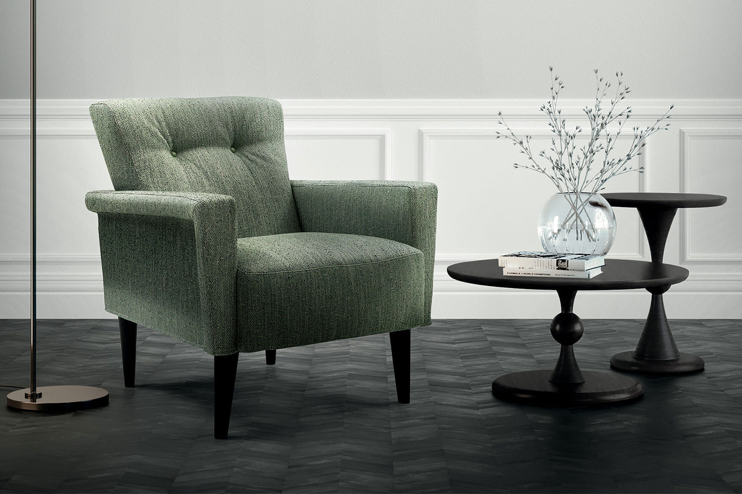Stylish mid-century style upholstered armchair with button back