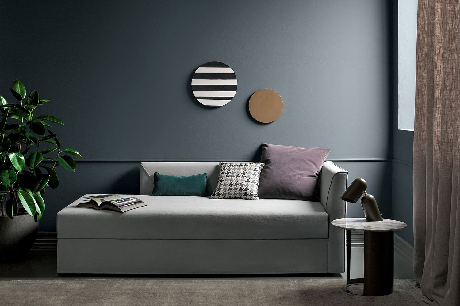 Upholstered trundle daybed, a sofa with a second pull-out bed
