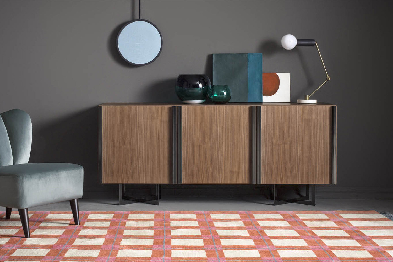Contemporary walnut wood sideboard with metal cross legs