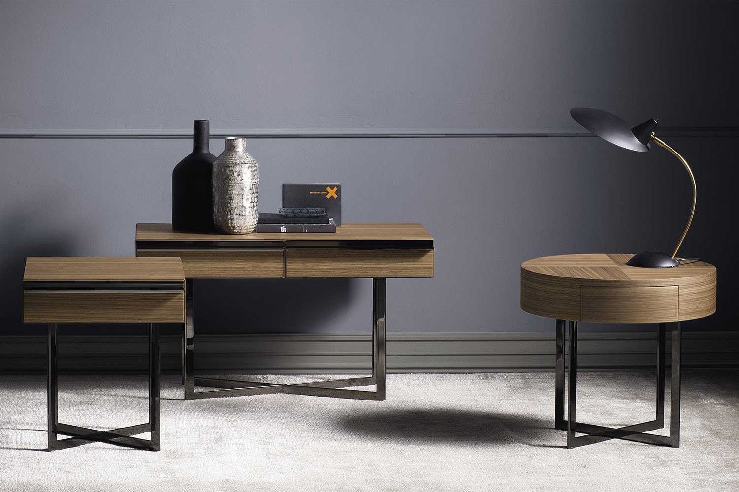 Cross leg side tables with drawer, in Canaletto walnut wood or custom RAL colours