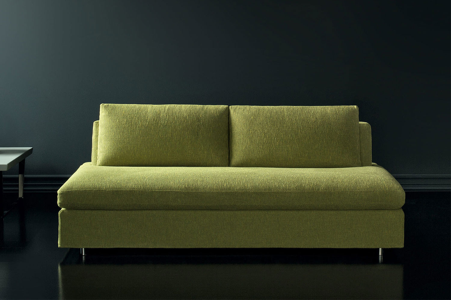 Bench style 2-3 seater armless sofa bed or chair bed with Lampolet mechanism and Simmons mattress