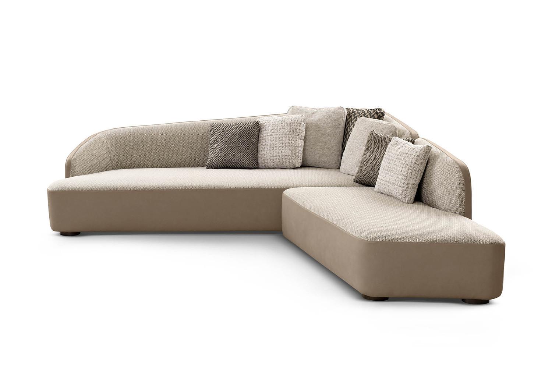 Modern curved designer sofa with asymmetrical backrest