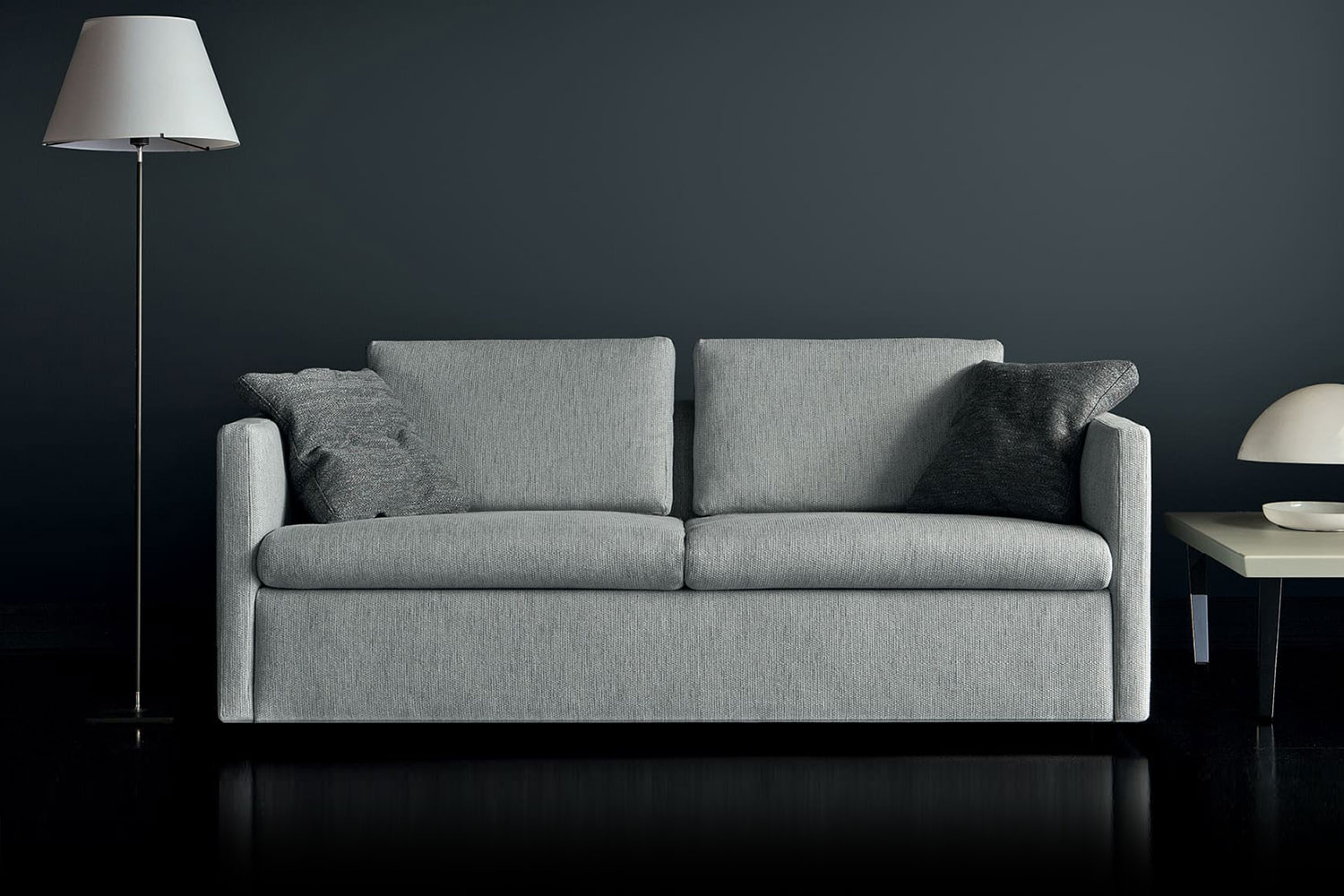 Convertible sectional sofa bed with high arms and back