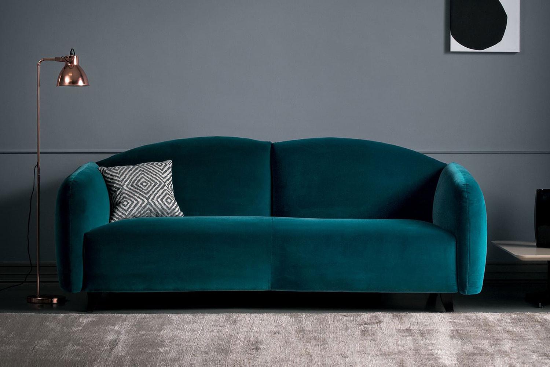 Tailored retro 2/3-seater sofa in velvet, fabric or leather