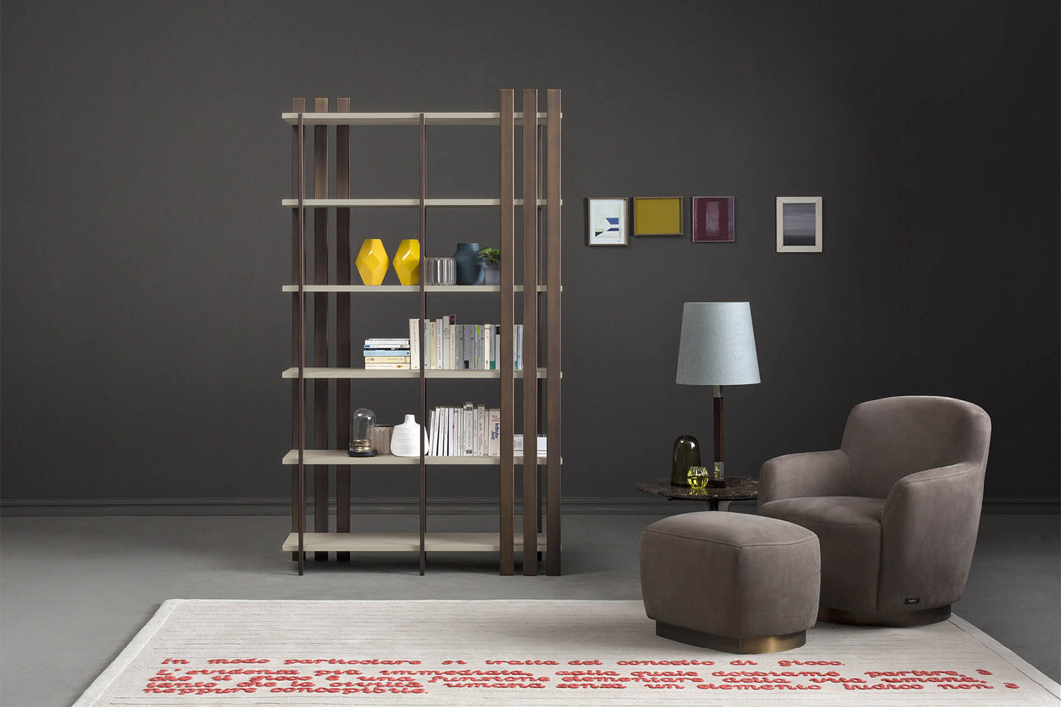 Tall free standing 6-shelf bookcase with walnut or lacquer shelves held together by 10 metal rods