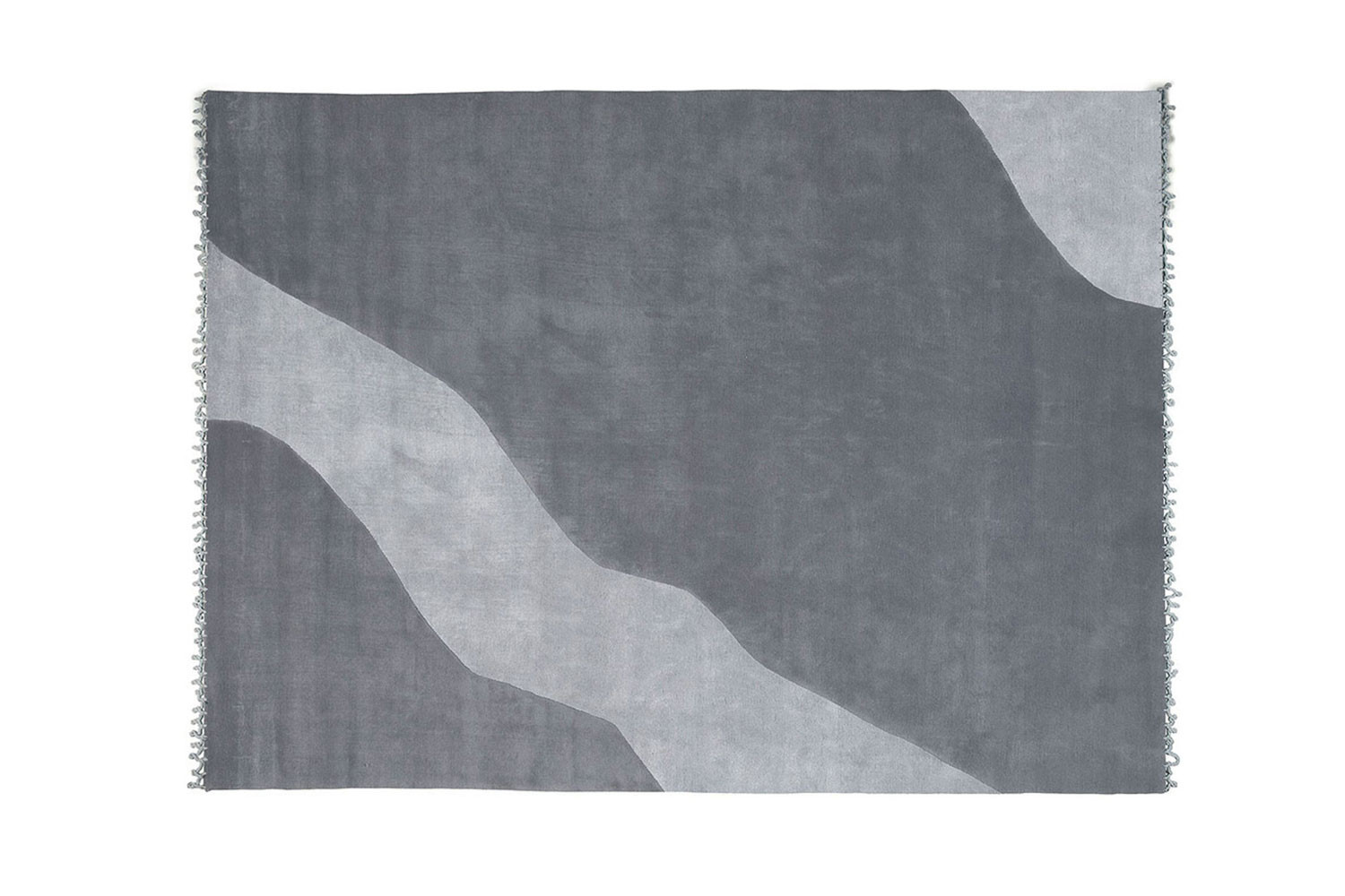Rectangular hand-knotted short pile wool and viscose rug available in grey, beige and taupe