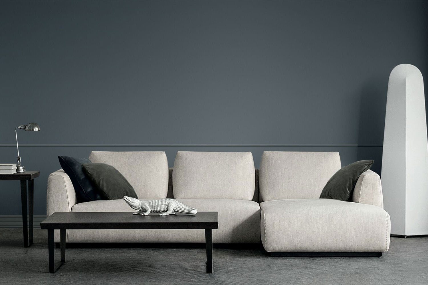 Contemporary, minimalist tight seat sectional sofa with soft loose foam-filled back cushions and high arms