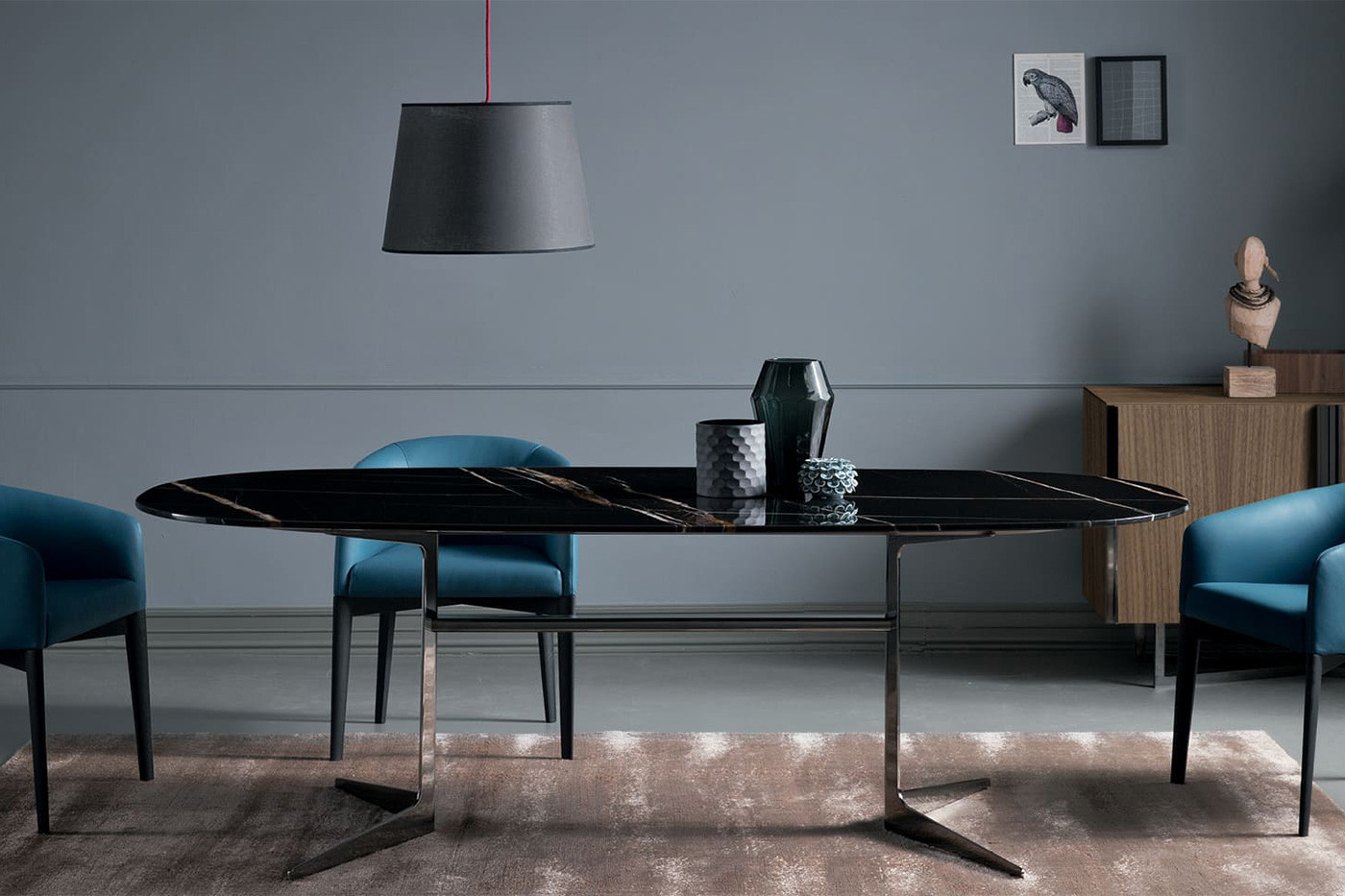 Designer dining y-base table with oval or rectangular top that sits 8 to 10 people