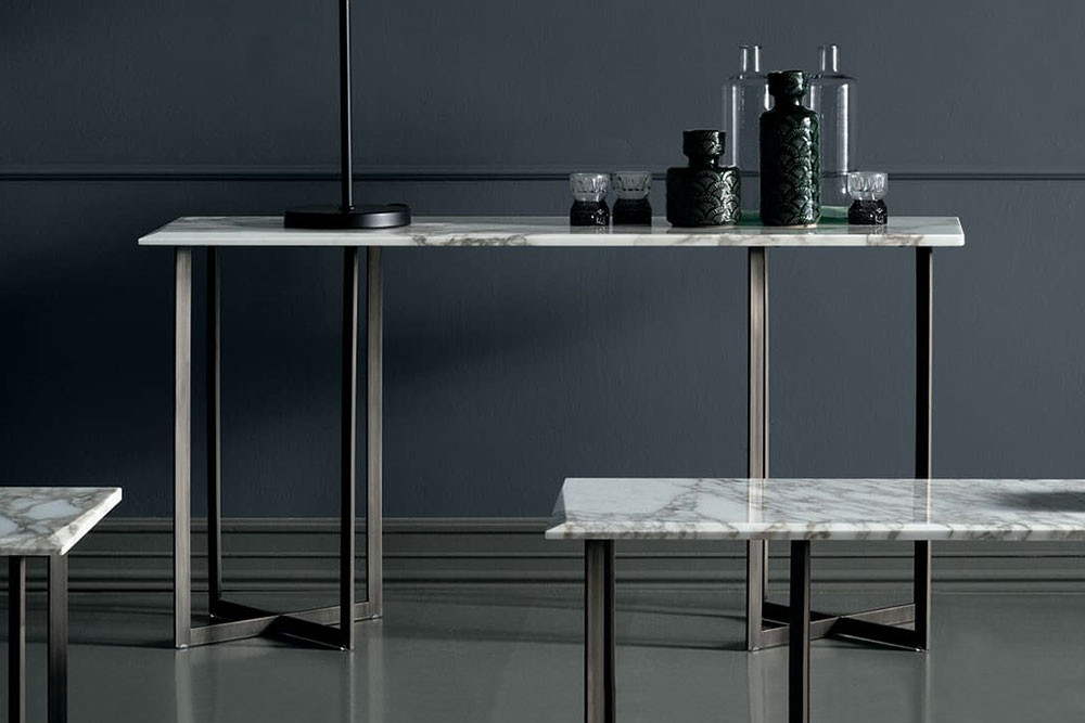 40 cm deep contemporary metal and marble console table, with stylish cross legs