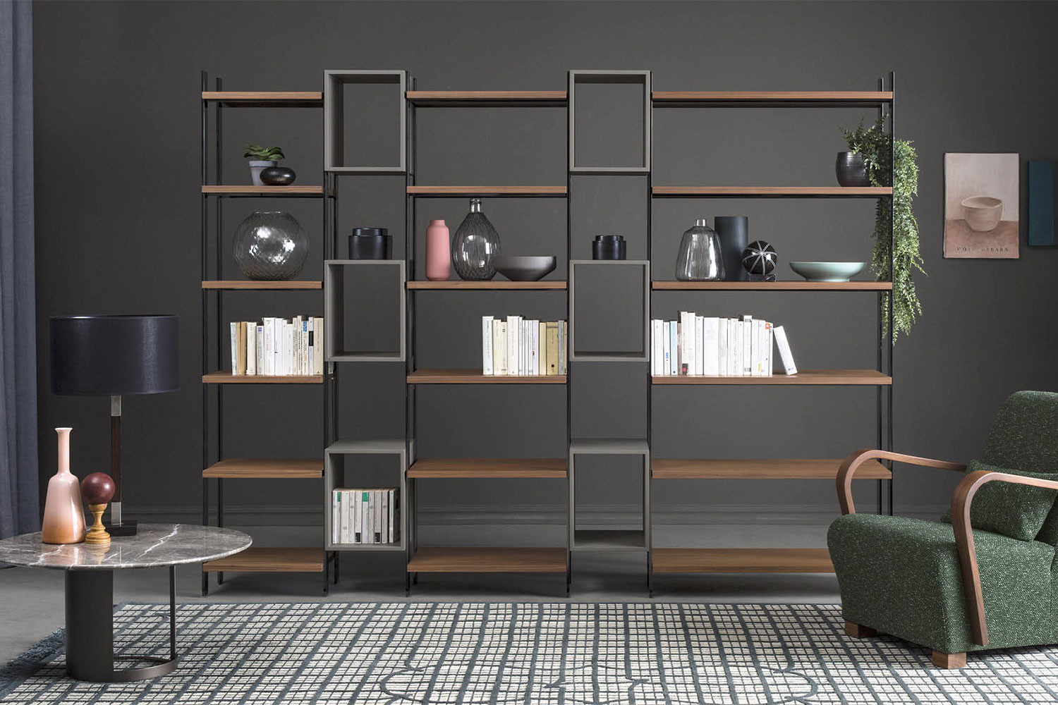 High end, contemporary, open-back metal frame bookcase with wood shelves