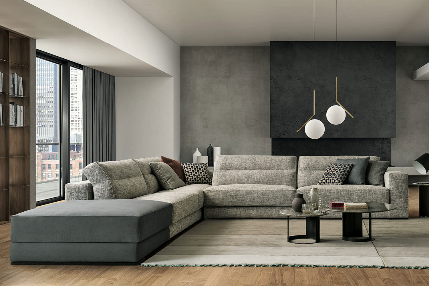 Comfortable sectional sofa with feather loose cushions and ergonomic back
