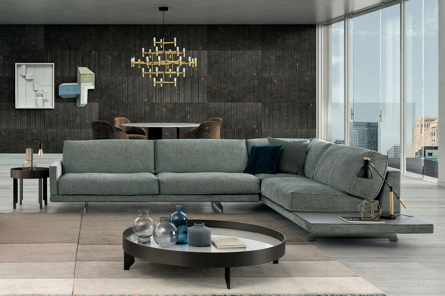 Sectional sofa with side table attached or with slim arms