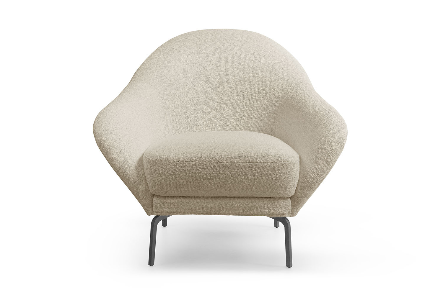 Oyster-style shell chair with high metal legs