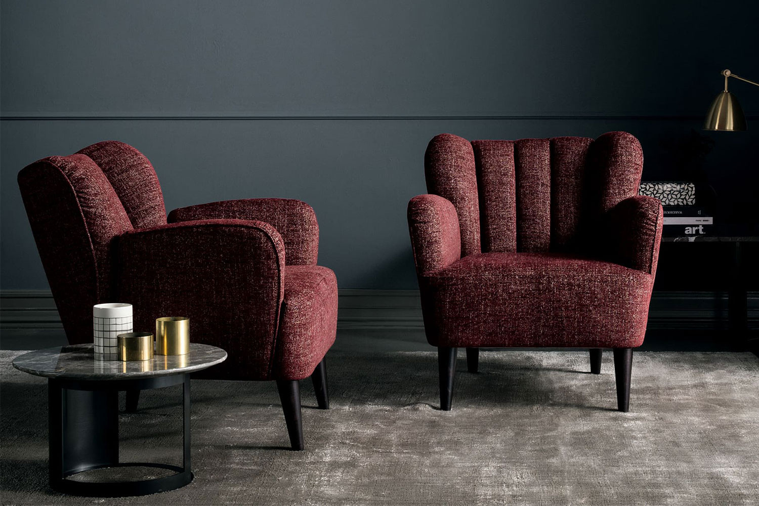 Stylish art-deco inspired scalloped cocktail chairs with wooden legs