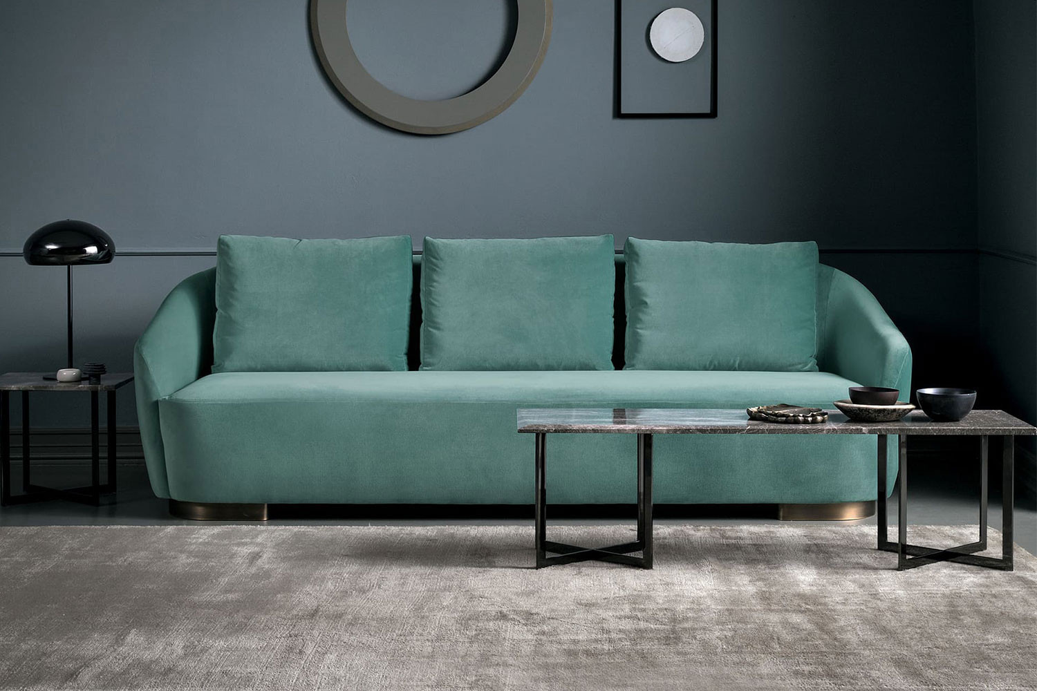 Modern 2-3 seater art-deco tub sofa with loose back cushions in velvet, fabric or leather