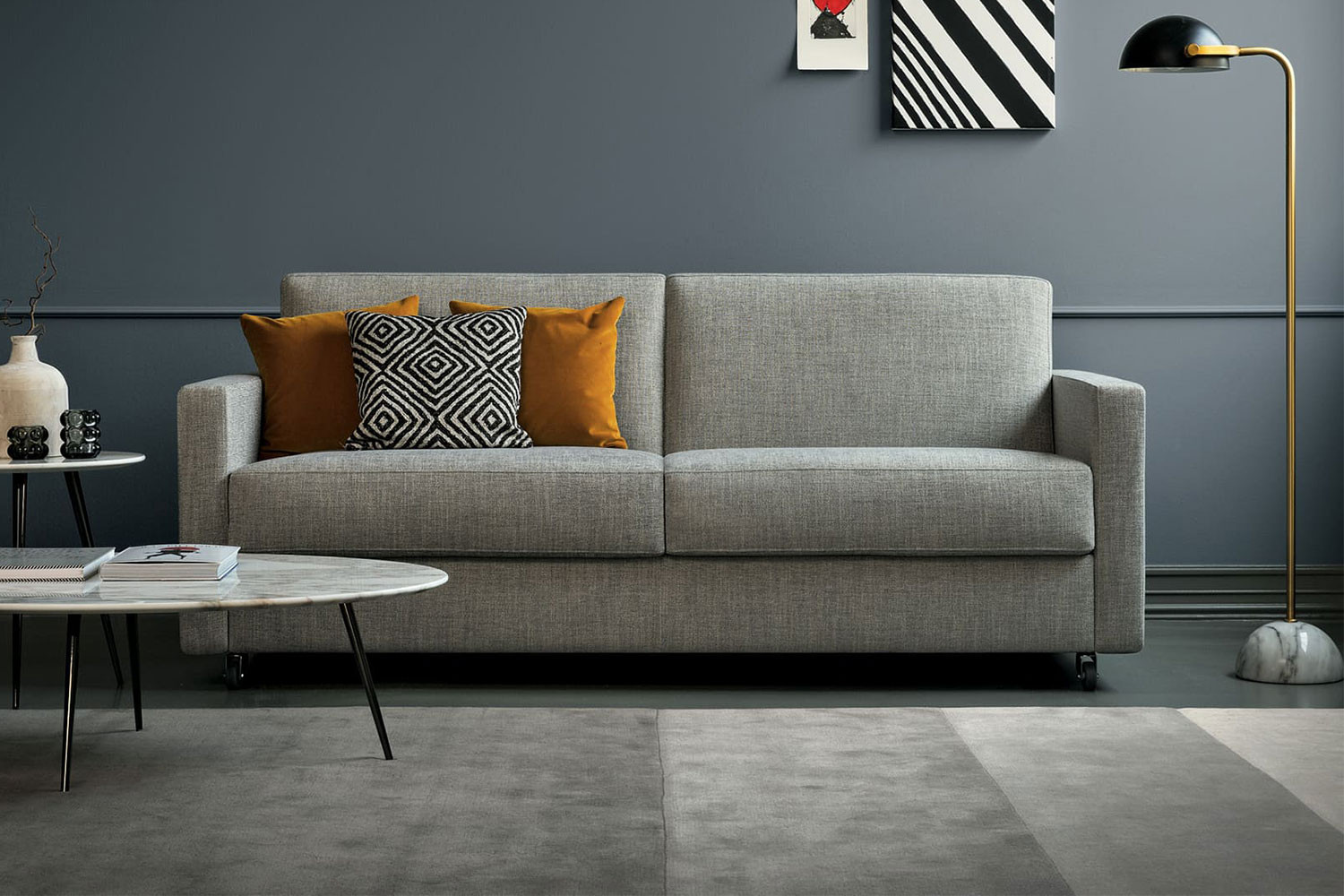 Sectional sofa bed with wheels, available as chair, 2-3 seater, storage chaise, corner