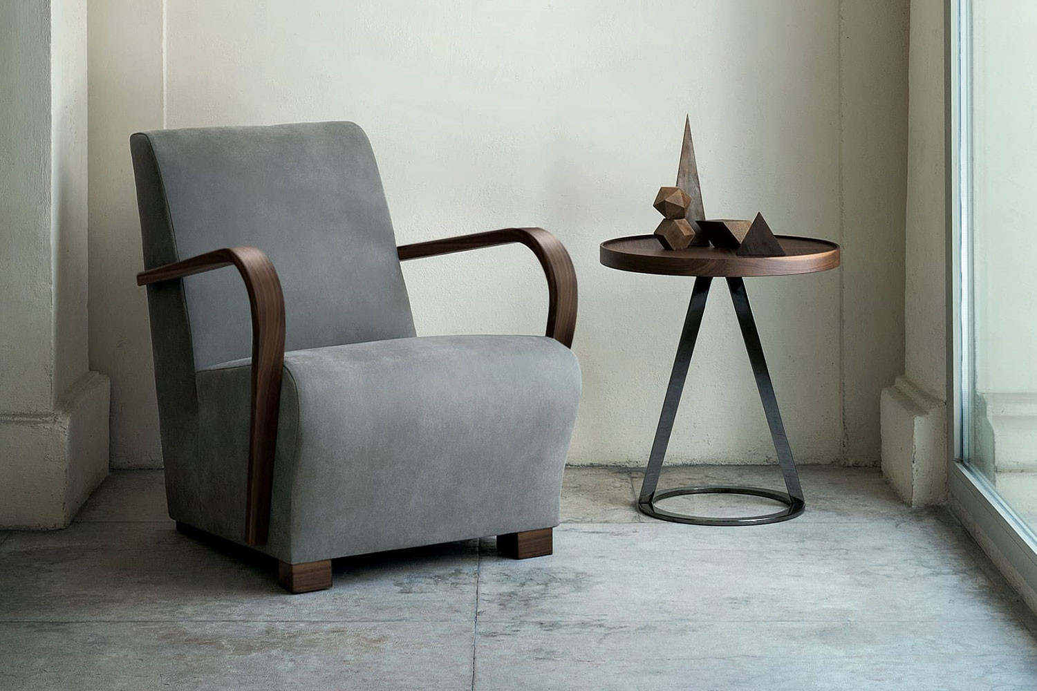Upholstered bentwood armchair with steam bent curved arms crafted from prized solid walnut