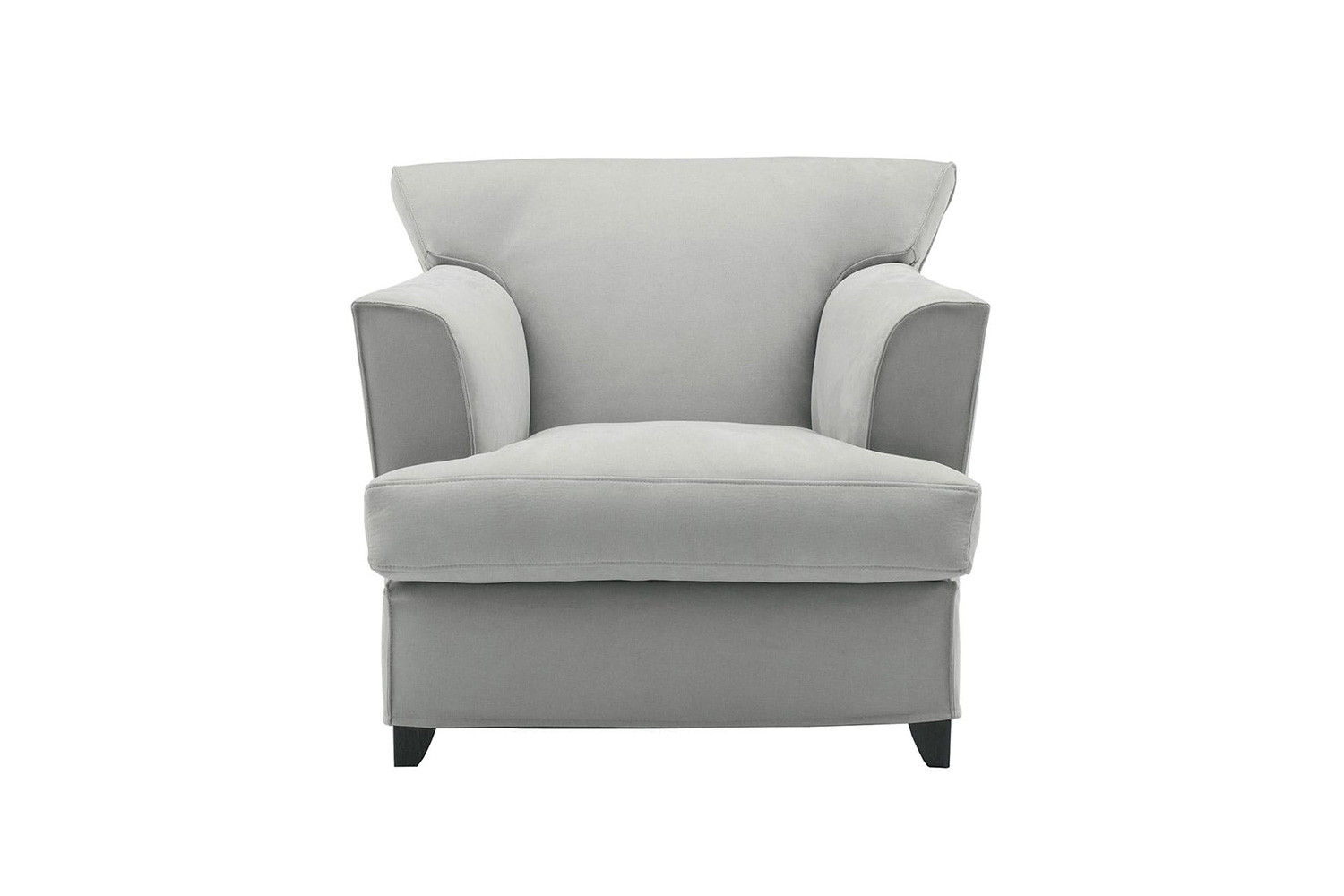 Thick padded comfortable armchair with a deep t-seat cushion, recessed high arms and wooden legs