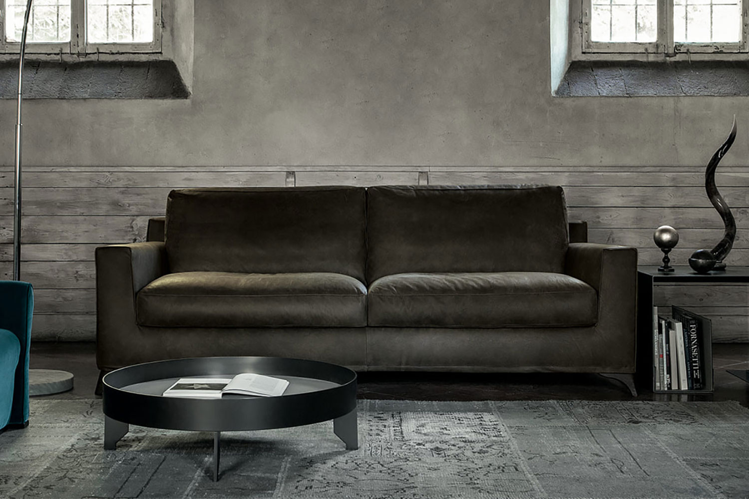 Modern square arm sofa with a contemporary mid-century flair