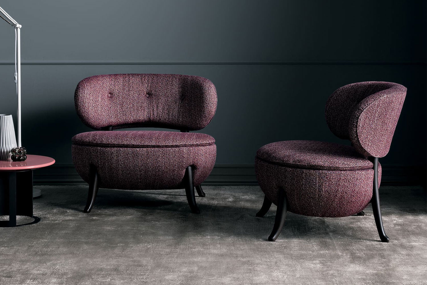 Romantic mid century inspired armless slipper chair with buttoned back