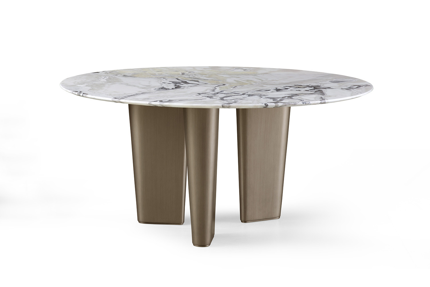 Luxury designer 3 legged marble and brass round dining table Otto