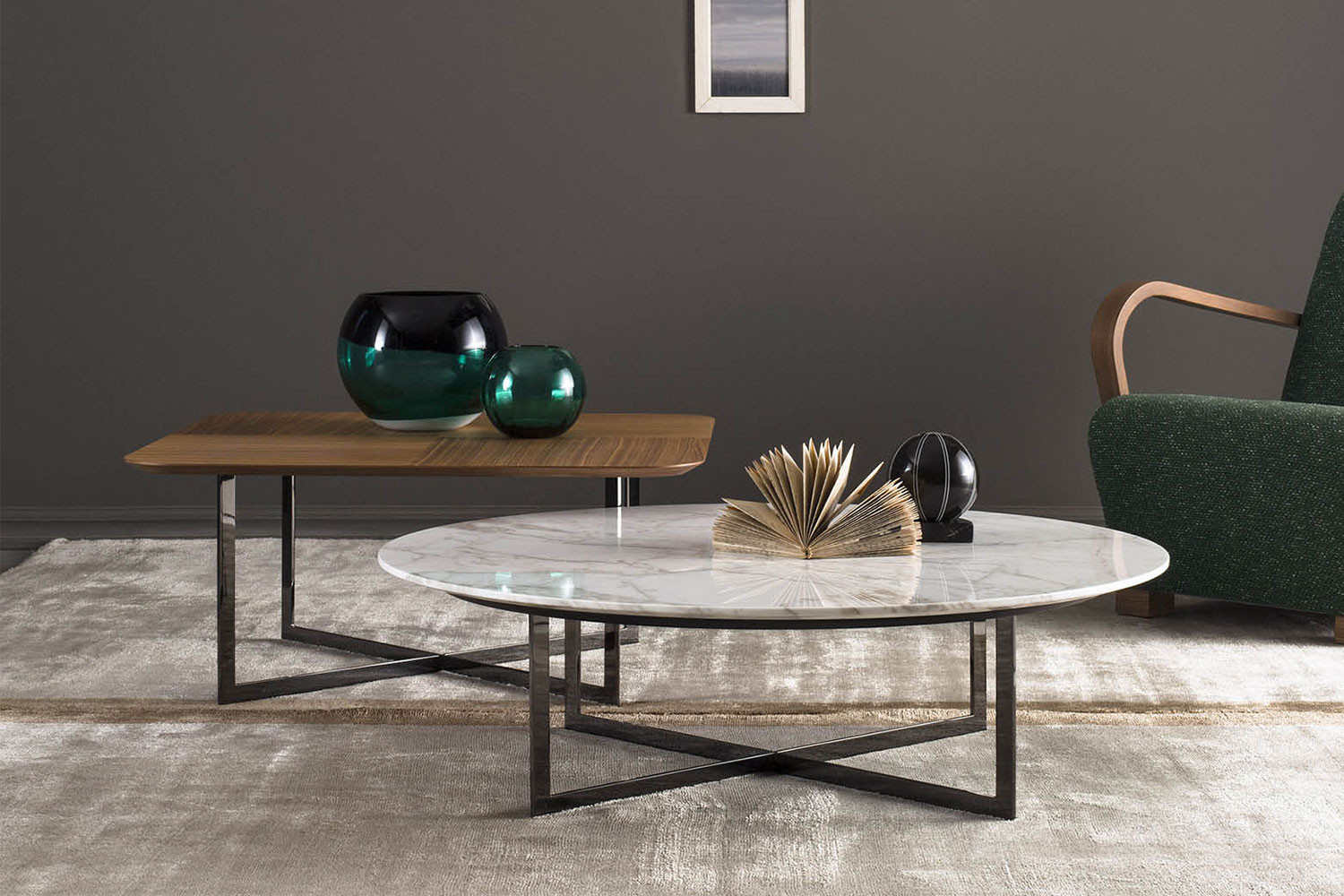 2 piece coffee table set, one round and one square in two heights