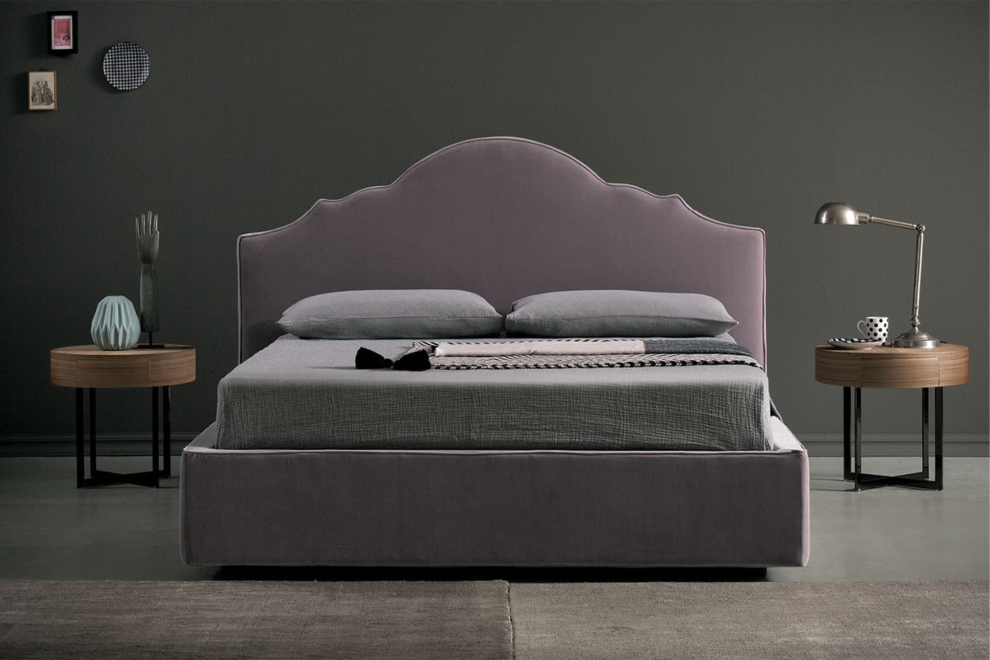 Upholstered scalloped headboard bed, available as a king size and super king size