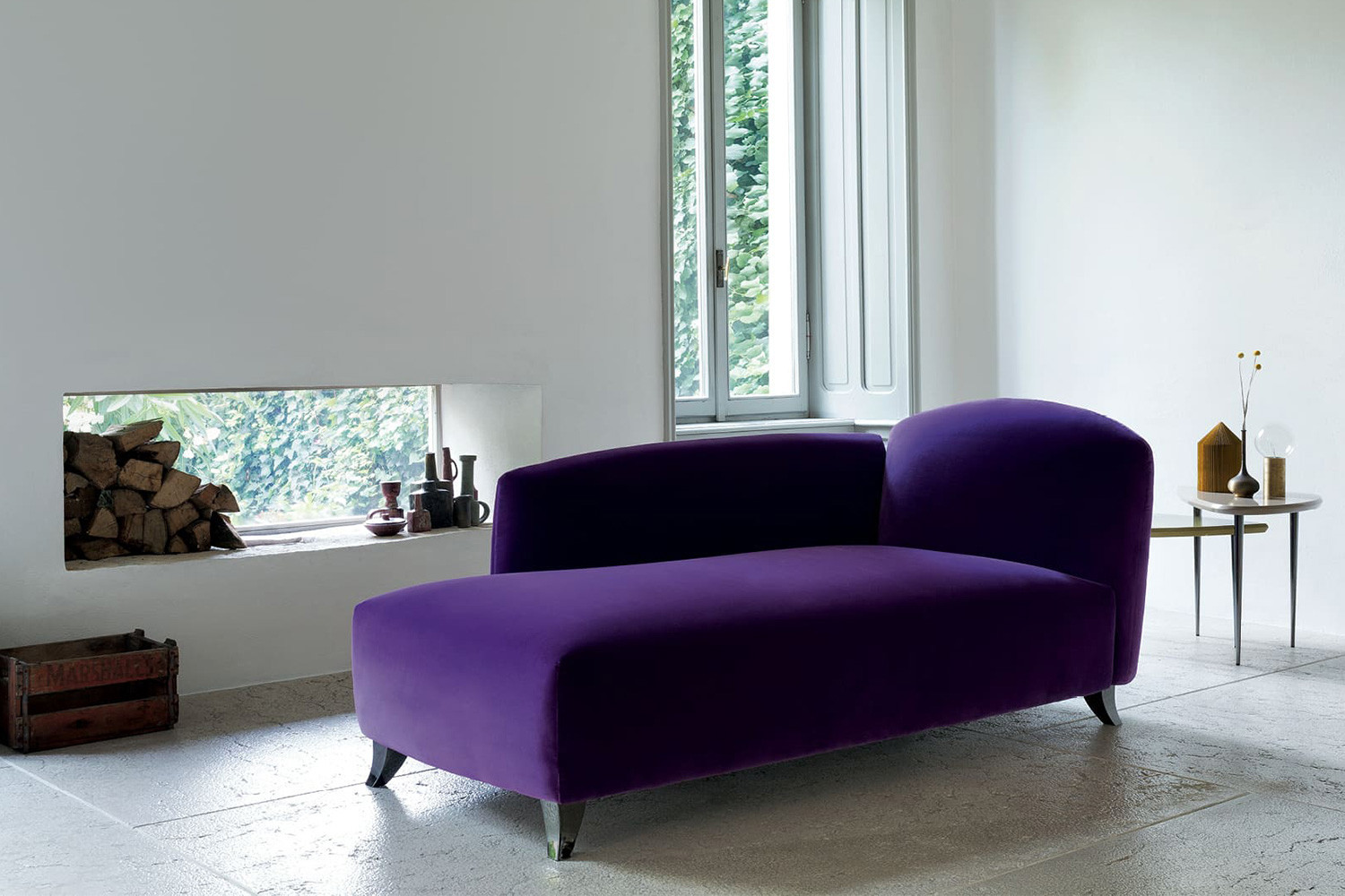 Upholstered fabric or velvet loveseat chaise lounge with wood or chrome saber legs
