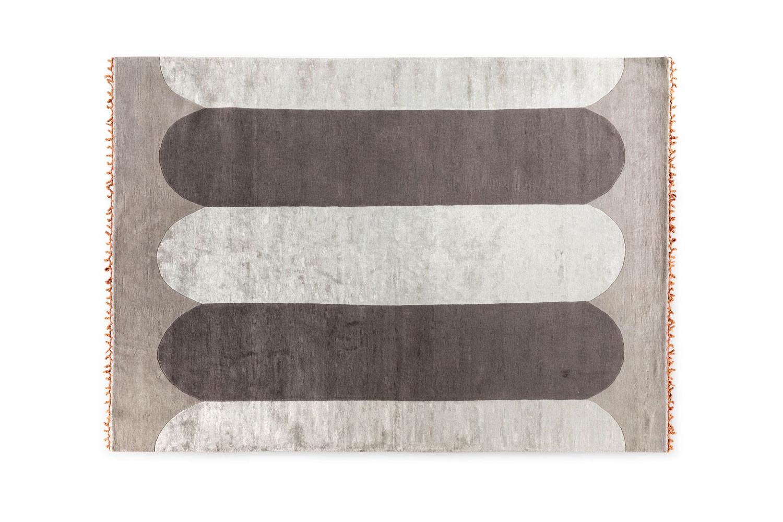 Großer rechteckiger Kurzflor-Teppich aus Wolle und Viskose Fullprint