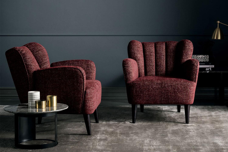 Kim, moderner schalenförmiger Sessel mit Armlehnen
