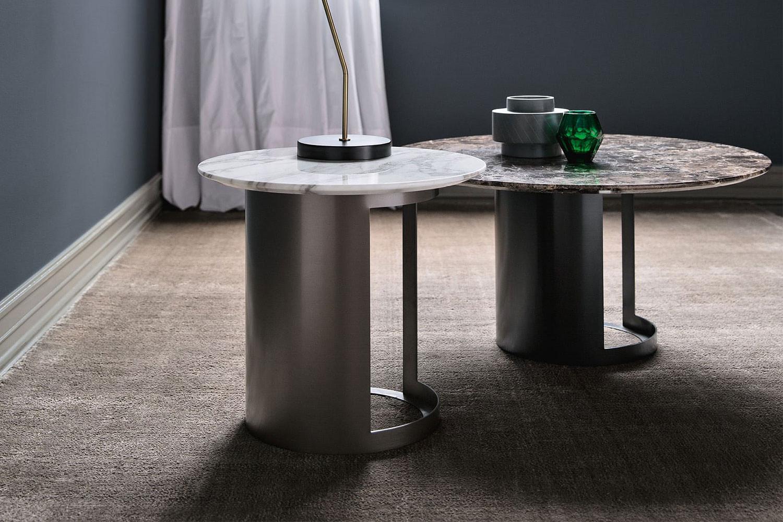 Ci, collezione di preziosi tavolini bassi di design in marmo screziato