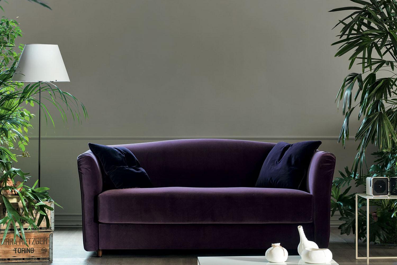Valentino, divano letto lineare in velluto dal lusso moderno